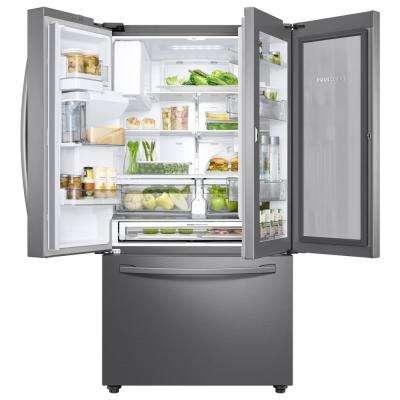 23 cu. ft. 3-Door French Door Refrigerator in Stainless Steel with Food Showcase Door, Counter Depth