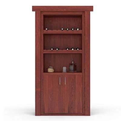 32 in. x 80 in. Flush Mount Assembled Maple Cherry Stained Left-Hand Inswing Wine Rack Door
