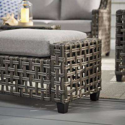 Briar Ridge Brown Wicker Outdoor Patio Ottoman with CushionGuard Stone Gray Cushions
