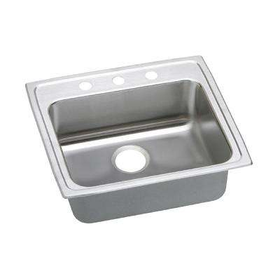 Gourmet Top Mount Stainless Steel 25 in. 3-Hole Single Bowl Kitchen Sink