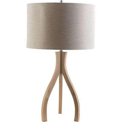Benerito 28.74 in. Natural Wood Indoor Table Lamp with Beige Shade