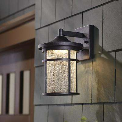 Aged Iron Outdoor LED Wall Lantern Sconce with Crackle Glass