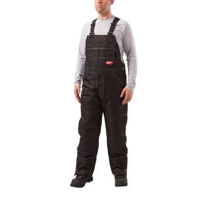 Men's Gridiron Black Zip-to-Thigh Bib Overall