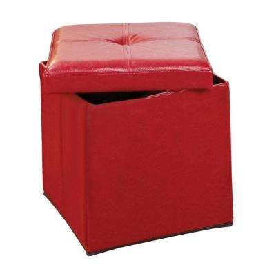 Single Folding Polyurethane Leather Ottoman in Red