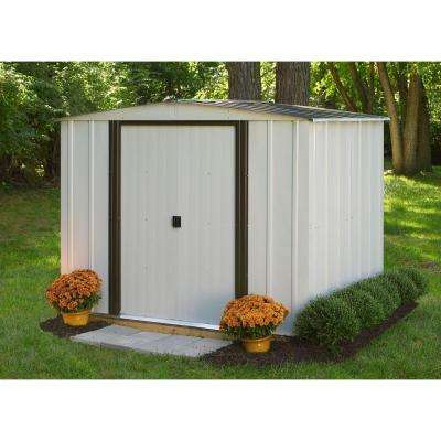 Newport 8 ft. W x 6 ft. D 2-Tone Eggshell and Coffee Galvanized Metal Shed with Galvanized Steel Floor Frame Kit