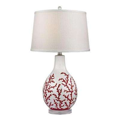 Sixpenny 27 in. White Red Coral Table Lamp