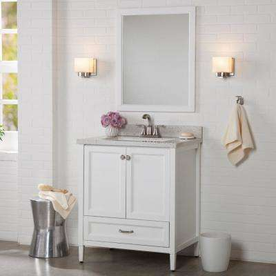 Claxby 31 in. W x 22 in. D Bathroom Vanity in White with Solid Surface Vanity Top in Silver Ash with White Sink