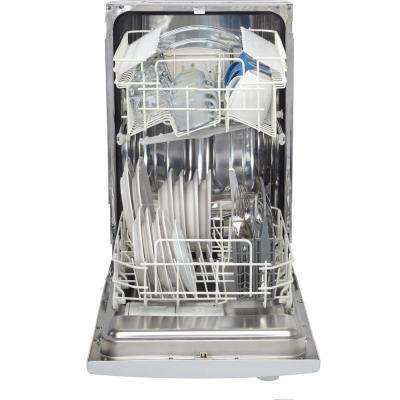18 in. Front Control Dishwasher in White with Stainless Steel Tub