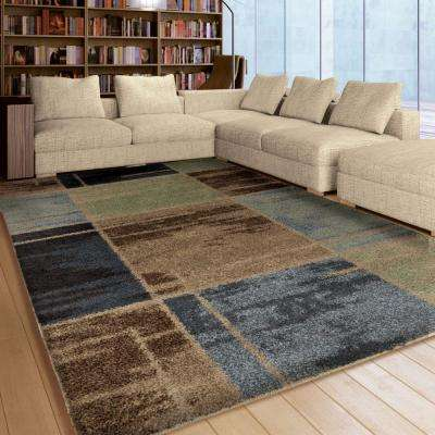 Juke Blue Geo Shag 8 ft. x 11 ft. Indoor Area Rug