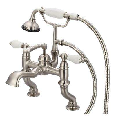 3-Handle Vintage Claw Foot Tub Faucet with Hand Shower and Porcelain Lever Handles in Brushed Nickel