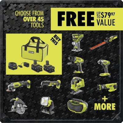 """18-Volt ONE+ High Capacity 4.0 Ah Battery (2-Pack) Starter Kit with Charger and Bag w/FREE ONE+ 5"""" Random Orbit Sander"""