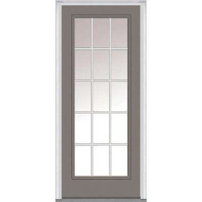 30 in. x 80 in. Classic Clear Glass GBG Full Lite Painted Majestic Steel Prehung Front Door
