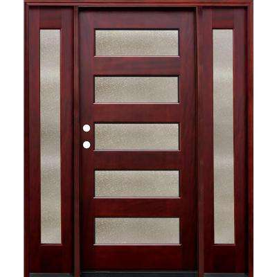 66 in. x 80 in. 5 Lite Seedy Stained Mahogany Wood Prehung Front Door w/ 6 in. Wall Series and 12 in. Sidelites