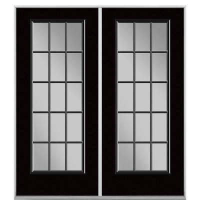 Prehung 15 Lite Steel Patio Door with No Brickmold in Vinyl Frame