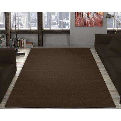 Jardin Collection Solid Design Natural Brown 5 ft. x 7 ft. Indoor/Outdoor Area Rug