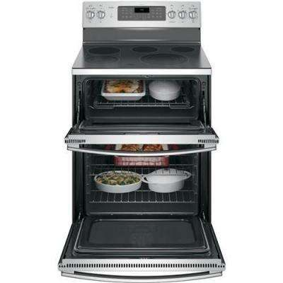 Profile 30 in. 6.6 cu. ft. Double Oven Electric Range with Self-Cleaning and Convection Lower Oven in Stainless Steel