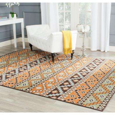 Veranda Terracotta/Chocolate 7 ft. x 10 ft. Indoor/Outdoor Area Rug