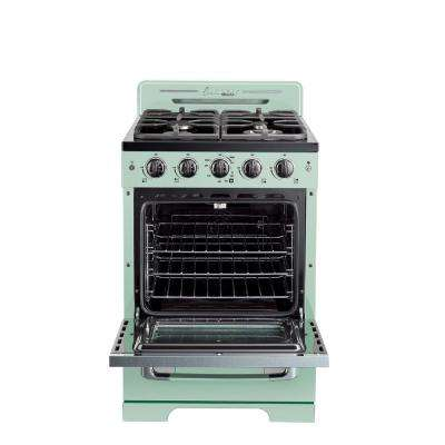 Classic Retro 24 in. 2.9 cu. ft. Gas Range with Convection Oven in Summer Mint Green