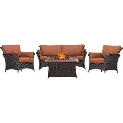 Strathmere Allure 4-Piece Patio Fire Pit Conversation Set with Wood Grain Tile Top and Woodland Rust Cushions
