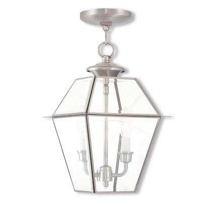 Westover Brushed Nickel 2-Light Outdoor Hanging Lantern