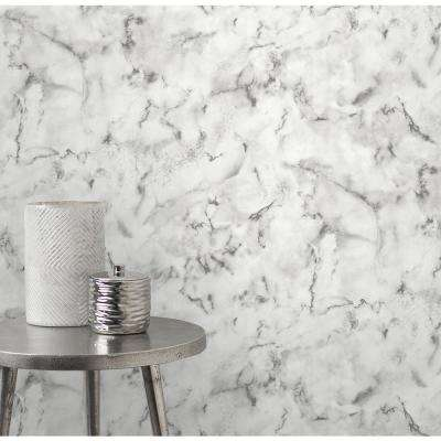 Notting Hill Light Grey Marble Strippable Roll (Covers 56.4 sq. ft.)
