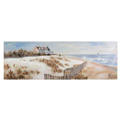 "20 in. x 59 in. ""East Matunuck Beach"" Hand Painted Canvas Wall Art"