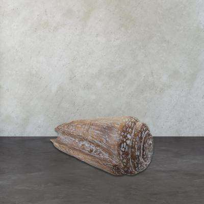 8 in. x 19 in. Burnt White Wash Wooden Decorative Cone Shell Figurine
