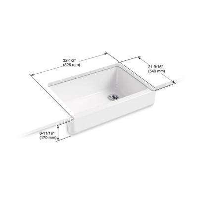 Whitehaven Farmhouse Apron-Front Cast Iron 32.5 in. Single Bowl Kitchen Sink in White