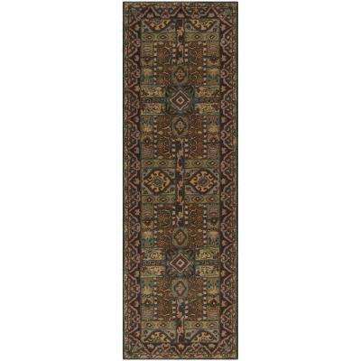 Justica Dark Brown 3 ft. x 12 ft. Area Rug