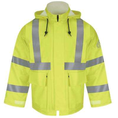 CAT2 Men's Yellow Green Hi-Visibility Flame-Resistant Rain Jacket