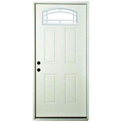Premium Camber Top 11 Lite Primed White Steel Prehung Front Door