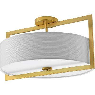Harmony Collection 3-Light Natural Brass Semi-Flush Mount Light