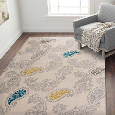 """Contemporary Modern Floral Paisley Pattern Area Rug Cream 7' 6"""" x 9'5"""""""