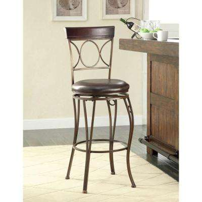 Circles Back 30 in. Brown Swivel Cushioned Bar Stool