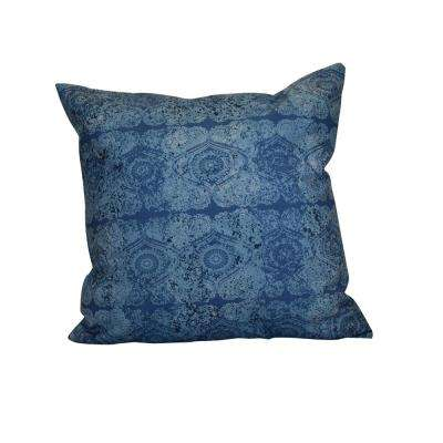 16 in. x 16 in. Patina, Geometric Print Pillow, Blue