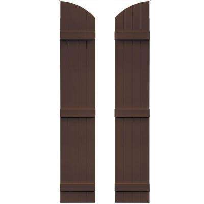 14 in. x 81 in. Board-N-Batten Shutters Pair, 4 Boards Joined with Arch Top #009 Federal Brown