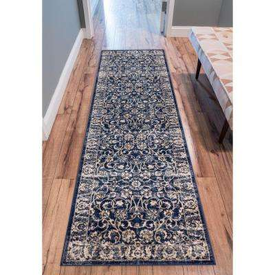 Amba Sonoma Blue 3 ft. x 10 ft. Traditional Distressed Runner Rug