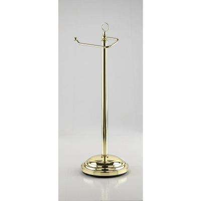Freestanding Toilet Paper Holder with Euro Roller in Brass-DISCONTINUED