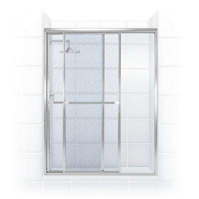 Paragon 42 in. to 43.5 in. x 66 in. Framed Sliding Shower Door with Towel Bar in Chrome and Obscure Glass