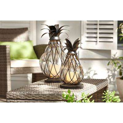 17 in. Aged Bronze Outdoor Patio LED Candle Pineapple Lantern