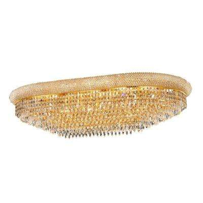 24-Light Gold Flushmount with Clear Crystal