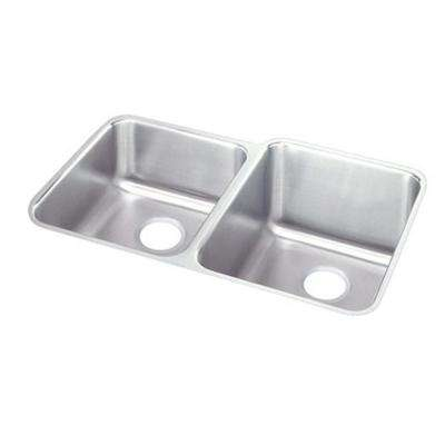 Lustertone Undermount Stainless Steel 31 in. 0-Hole Double Bowl Kitchen Sink