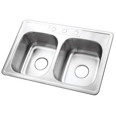 Drop-In Stainless Steel 33 in. 3-Hole Double Basin Kitchen Sink