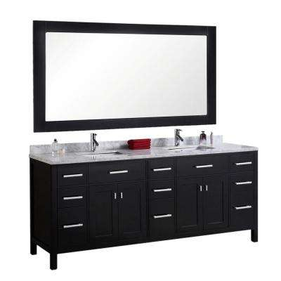 London 78 in. W x 22 in. D Vanity in Espresso with Marble Vanity Top and Mirror in Carrara White