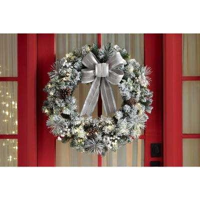32 in. Pre-Lit LED Lexington Pine Artificial Christmas Wreath