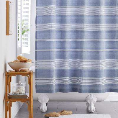 Chambray Stripe 72 in. Cotton Shower Curtain
