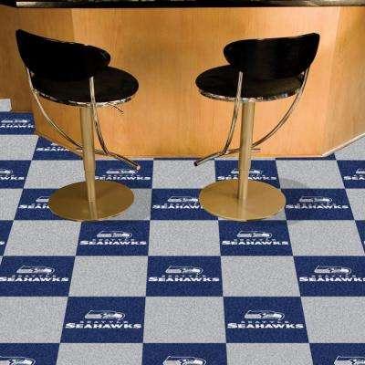 NFL - Seattle Seahawks Navy and Grey Nylon 18 in. x 18 in. Carpet Tile (20 Tiles/Case)