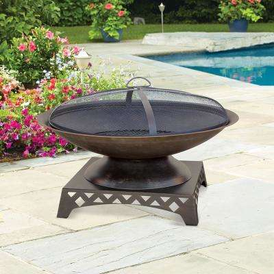 30 in. Diameter Bronze Finish Wood Burning Fire Pit with Pedestal Base and Mesh Spark Guard