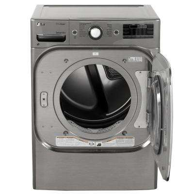 9.0 cu ft Mega Capacity Stackable Front Load Gas Dryer w/ TrueSteam, SteamFresh & Pedestal Compatible in Graphite Steel