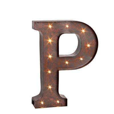 "12 in. H ""P"" Rustic Brown Metal LED Lighted Letter"